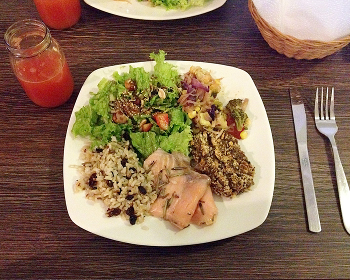 salmon wild rice and salad at naturalia