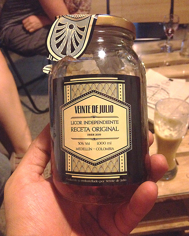 jar of local brewed colombian rum