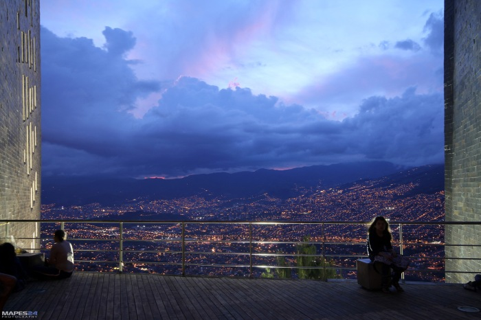 view of medellin colombia from biblioteca espana