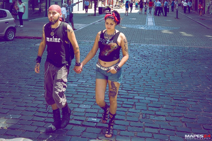 uruguay couple with tattoo on streets of montevideo
