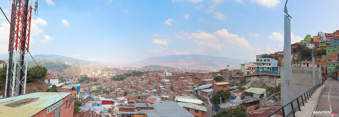 panoramic view of medellin from comuna 13 san javier colombia