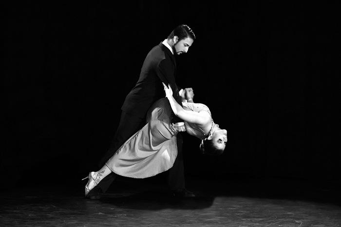 black and white photo of tango dancers