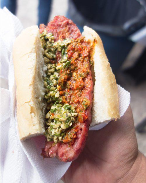 a choripan sandwich from el rey del chori in san telmo buenos aires