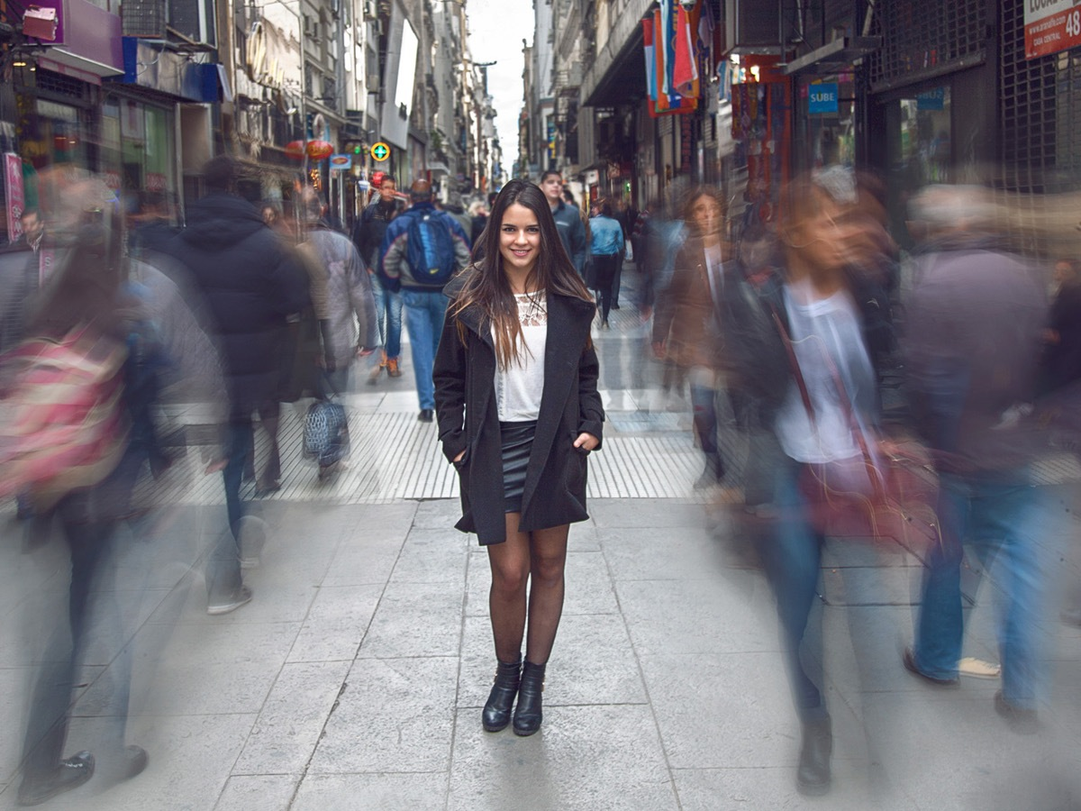 colombian female model poses on calle florida in buenos aires argentina travel photography